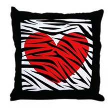 Red Heart in Zebra Stripes Throw Pillow