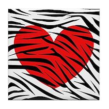 Red Heart in Zebra Stripes Tile Coaster