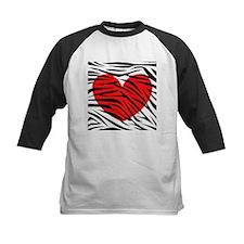 Red Heart in Zebra Stripes Baseball Jersey