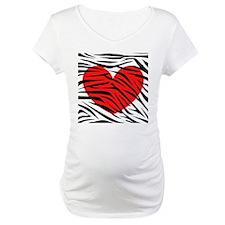 Red Heart in Zebra Stripes Shirt