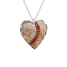Unique Baseball Necklace Heart Charm