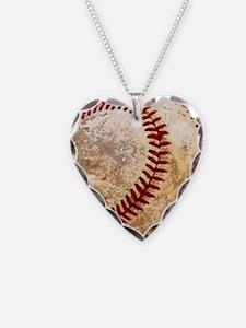 Cute Baseball Necklace Heart Charm