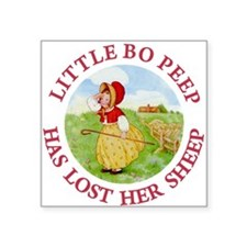 "LITTLE BO PEEP_RED.png Square Sticker 3"" x 3"""