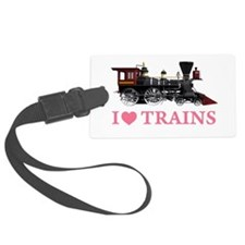 I LOVE TRAINS PINK copy.png Luggage Tag