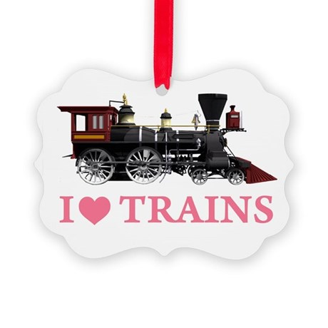 I LOVE TRAINS PINK copy.png Picture Ornament