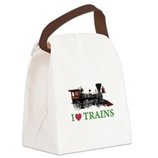 I LOVE TRAINS Canvas Lunch Bag