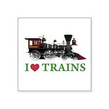 "I LOVE TRAINS Square Sticker 3"" x 3"""