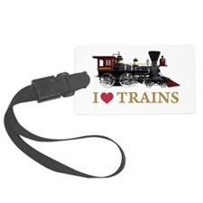 I LOVE TRAINS GOLD copy.png Luggage Tag