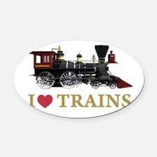I LOVE TRAINS GOLD copy.png Oval Car Magnet