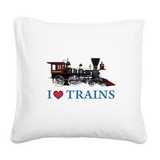 I LOVE TRAINS BLUE copy.png Square Canvas Pillow
