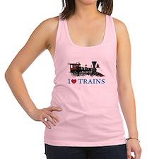 I LOVE TRAINS BLUE copy.png Racerback Tank Top