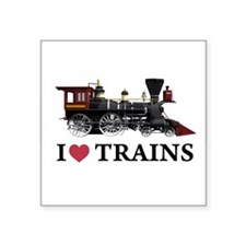 "I LOVE TRAINS copy.png Square Sticker 3"" x 3"""