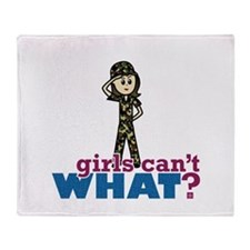 Army Girl Throw Blanket