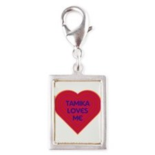 Tamika Loves Me Silver Portrait Charm