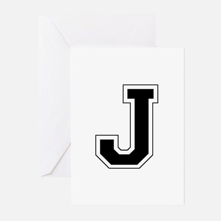 Collegiate Monogram J Greeting Cards (Pk of 10)