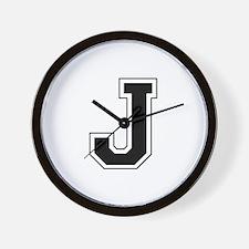Collegiate Monogram J Wall Clock