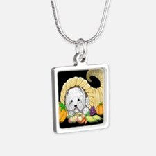 Thanksgiving Westie Silver Square Necklace