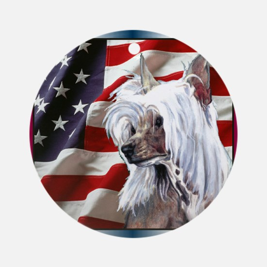 Chinese Crested US Flag Ornament (Round)