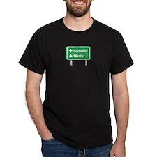Summer/Winter road sign Black T-Shirt