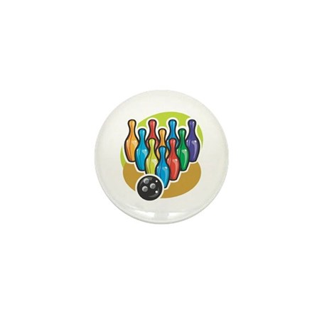 Colorful Bowling Pins and Ball Mini Button (100 pa