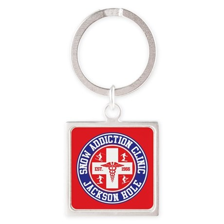 Jackson Hole Snow Addiction Clinic Square Keychain
