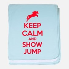 Keep calm and show jump baby blanket