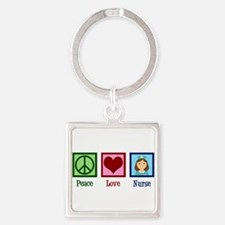 Peace Love Nurse Square Keychain