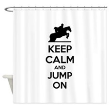 Keep calm and show jump Shower Curtain