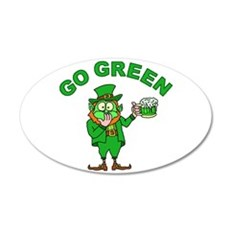 Funny Go Green Leprechaun 20x12 Oval Wall Decal