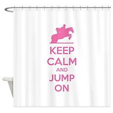 Keep calm and jump on Shower Curtain