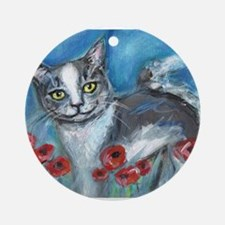 gray and white smiling cat Ornament (Round)