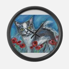 gray and white smiling cat Large Wall Clock