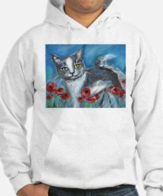 gray and white smiling cat Hoodie