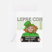Funny Leprechaun Mugshot Greeting Card