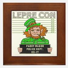 Funny Leprechaun Mugshot Framed Tile