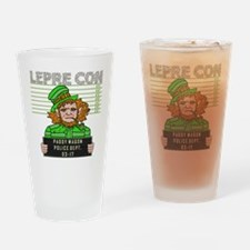 Funny Leprechaun Mugshot Drinking Glass
