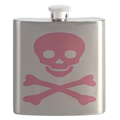 Pink Skull and Crossbones Flask
