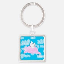 Flying Pig Square Keychain