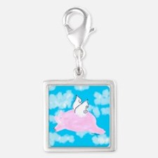 Flying Pig Silver Square Charm