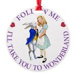 ALICE AND RABBIT PURPLE copy.png Round Ornament