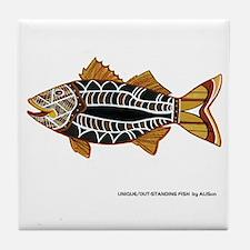Fun Striped Bass Art Tile Coaster