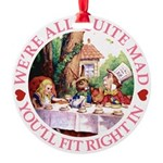 ALICE_ Were all Mad_PINK copy.png Round Ornament