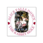 ALICE_DOWN THE RABBIT HOLE_PINK.png Square Sticker