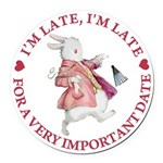 alice RABBIT im late red copy.png Round Car Magnet