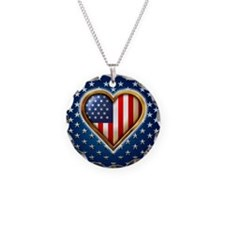 Heart Shaped US Flag Necklace