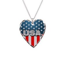USA Heart Shaped Flag Necklace