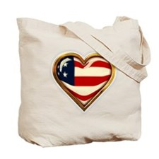 USA Heart Shaped Flag Tote Bag
