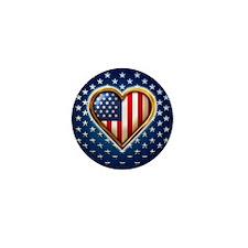 USA Heart Shaped Flag Mini Button