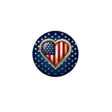 USA Heart Shaped Flag Mini Button (10 pack)