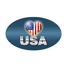 USA Heart Shaped Flag Oval Car Magnet